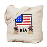 Patriotic USA Pug Dogs Tote Bag