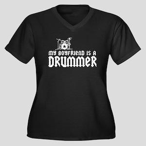 My Boyfriend is a Drummer Women's Plus Size V-Neck