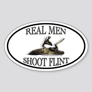 Real Men Shoot Flint Oval Sticker