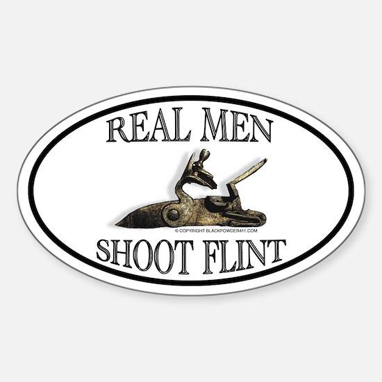 Real Men Shoot Flint Oval Decal