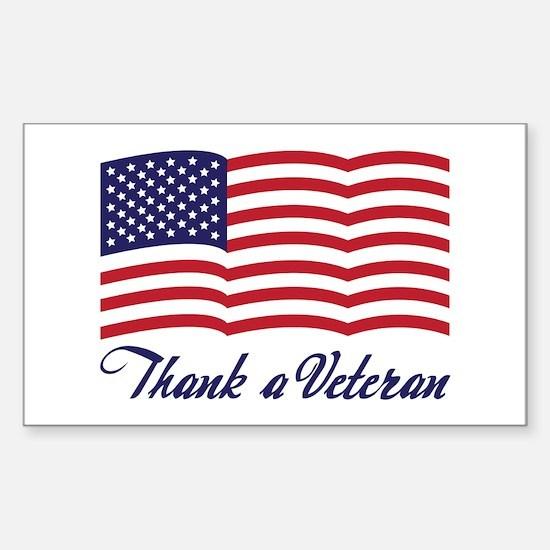 Thank A Veteran Rectangle Decal
