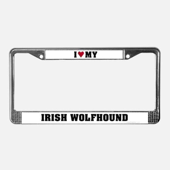 I Love My Irish Wolfhound License Plate Frame