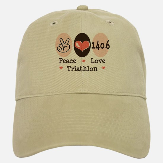 Peace Love Triathlon 140.6 Baseball Baseball Cap