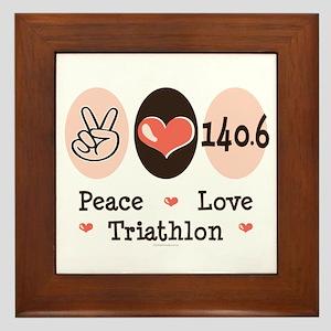 Peace Love Triathlon 140.6 Framed Tile
