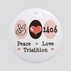Peace Love Triathlon 140.6 Ornament (Round)