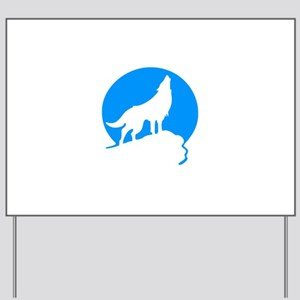 Wolf Howling Moon blue Yard Sign