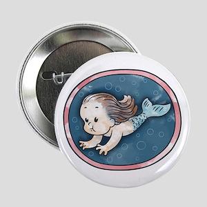 "Mermaid -brunette 2.25"" Button"