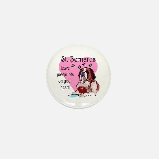 St. Bermard Pawprints Mini Button