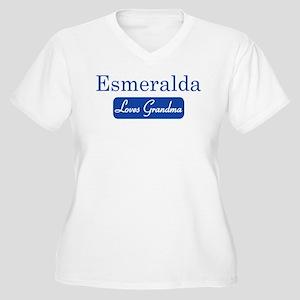 Esmeralda loves grandma Women's Plus Size V-Neck T