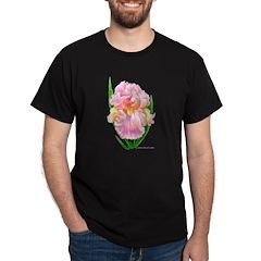 Pink Iris Black T-Shirt