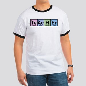 Chemistry science teacher periodic table elements t shirts cafepress teacher made of elements ringer t urtaz Images