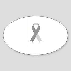 Brain Cancer Awareness USA Flag Gray Ribbo Sticker