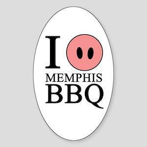 I Love Memphis BBQ Oval Sticker