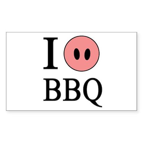 I Love BBQ Rectangle Sticker