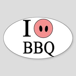 I Love BBQ Oval Sticker