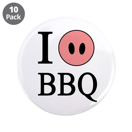 """I Love BBQ 3.5"""" Button (10 pack)"""