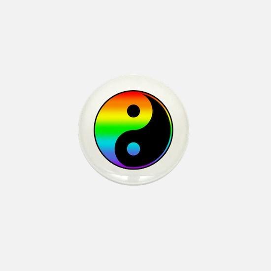 Rainbow Yin Yang Symbol Mini Button