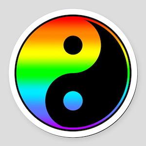 Rainbow Yin Yang Symbol Round Car Magnet