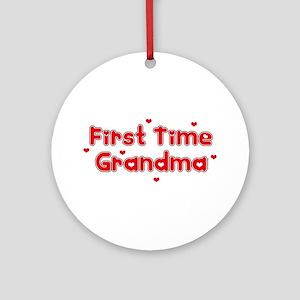 Heart 1st Time Grandma Ornament (Round)