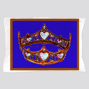 Queen of Hearts Gold Crown Tiara on Blue Violet Ir