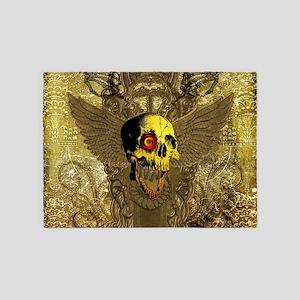 Scary skull with mechanical eye 5'x7'Area Rug