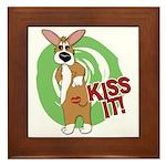 Kiss It Corgi Framed Tile
