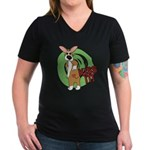 Kiss It Corgi Women's V-Neck Dark T-Shirt