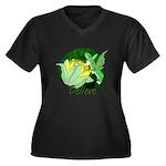 Corgi Fairy Women's Plus Size V-Neck Dark T-Shirt