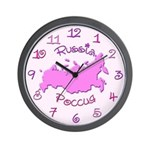 Russia Map colorful Wall Clock