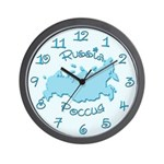 Russia Map Wall Clock (pastel blue)