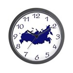Russia Wall Clock with map Blue