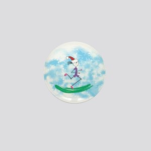Christmas Holiday Lady Runner Mini Button