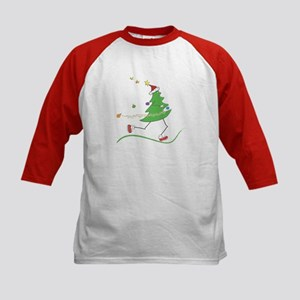 Christmas Tree Runner Kids Baseball Jersey