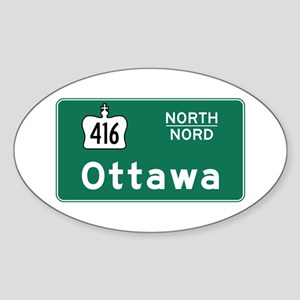 Ottawa, Canada Hwy Sign Oval Sticker