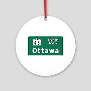 Ottawa, Canada Hwy Sign Ornament (Round)
