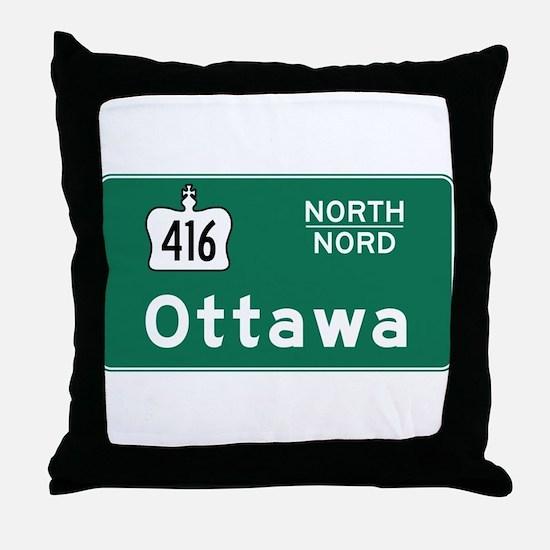 Ottawa, Canada Hwy Sign Throw Pillow