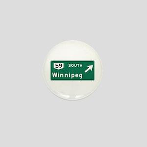 Winnipeg, Canada Hwy Sign Mini Button