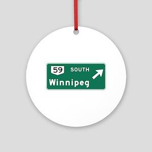 Winnipeg, Canada Hwy Sign Ornament (Round)