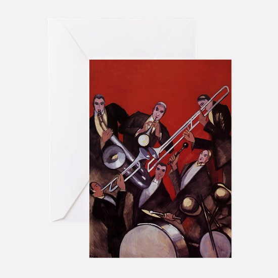 Vintage Music, Art Deco Jazz Greeting Cards (Pk of