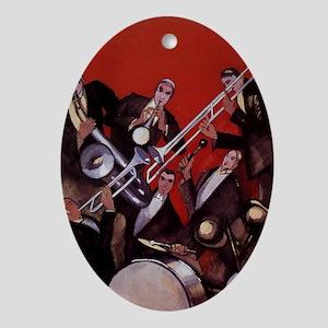 Vintage Music, Art Deco Jazz Ornament (Oval)
