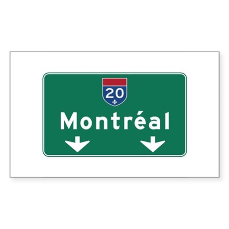 Montreal, Canada Hwy Sign Rectangle Sticker