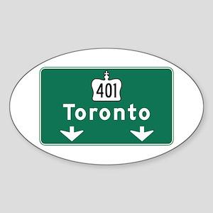 Toronto, Canada Hwy Sign Oval Sticker
