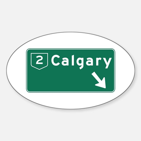 Calgary, Canada Hwy Sign Oval Decal