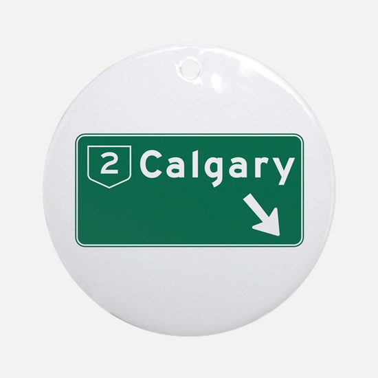 Calgary, Canada Hwy Sign Ornament (Round)