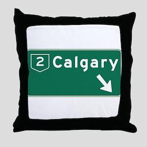 Calgary, Canada Hwy Sign Throw Pillow