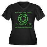 Power To Save Women's Plus Size V-Neck Dark T-Shir