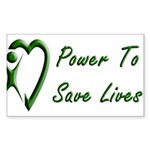 Power To Save Lives Rectangle Sticker 50 pk)