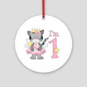 Kitty Princess First Birthday Ornament (Round)