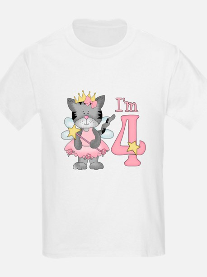 Kitty Princess 4th Birthday T-Shirt
