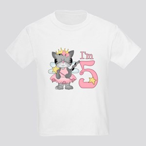 Kitty Princess 5th Birthday Kids Light T-Shirt